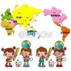세계지도와 어린이