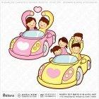 가족과 자동차 캐릭터