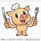 돼지 캐릭터와 식기