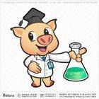 돼지캐릭터 삼각 플라스크