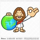 예수님 캐릭터와 지구본