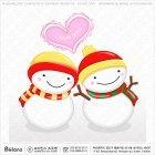 귀여운 커플 눈사람캐릭터