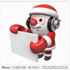 3D 산타 캐릭터와 피켓