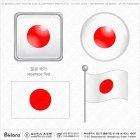 일본 국기 아이콘 4세트