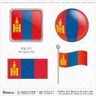 몽골 국기 아이콘 4세트