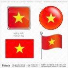 베트남 국기 아이콘 4세트