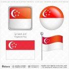 싱가포르 국기 아이콘 4세트
