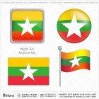 미얀마 국기 아이콘 4세트
