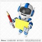 로봇 캐릭터 연필과 보드