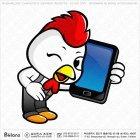 닭 캐릭터 스마트폰 통화