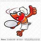 쉐프 새우 캐릭터 접시