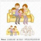 쇼파 앉은 가족캐릭터