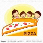 가족 캐릭터와 피자